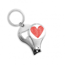 Valentine's Day Red Heart Shaped Illustration Pattern Metal Key Chain Ring Multi-function Nail Clippers Bottle Opener Car Keychain Best Charm Gift