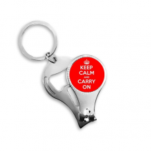 Quote Keep Calm And Carry On Red White British Royal Crown War Peace Poster Illustration Pattern Nail Clipper Ring Key Chain