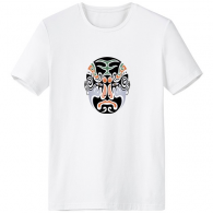 Beijing Opera Peking Opera Facial Mask Colorful Longhumen Art Chinese Traditional Culture Illustration Pattern Crew-Neck White T-shirt Spring and Summer Tagless Comfort Cotton Sports T-shirts