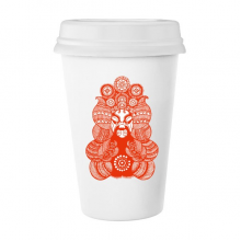 Beijing Opera Peking Opera Facial Mask Red The Legend of Deification Paper-cut Art Chinese Traditional Culture Art Illustration Pattern Classic Mug White Pottery Ceramic Cup Milk Coffee Cup 350 ml
