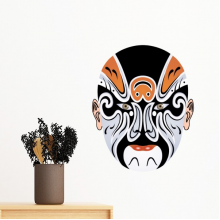 Beijing Opera Peking Opera Facial Mask Colorful Changbanpo Art Chinese Traditional Culture Illustration Pattern Removable Wall Sticker Art Decals Mural DIY Wallpaper for Room Decal