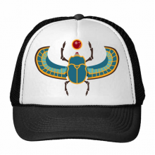 Egypt Culture Red Yellow Blue Beetle Atonism Abstract Illustration Pattern Trucker Hat Baseball Cap Nylon Mesh Hat Cool Children Hat Adjustable Cap
