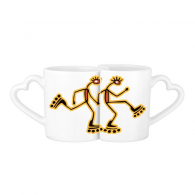 Egypt Culture Red Yellow Figure Roller Skating Totem Abstract Funny Illustration Pattern Lovers' Mug Lover Mugs Set White Pottery Ceramic Cup Milk Coffee Cup with Handles