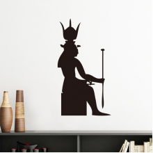 Ancient Egypt Culture Black White Pharaoh Scepter Totem Fresco Silhouette Illustration Pattern Silhouette  Removable Wall Sticker Art Decals Mural DIY Wallpaper for Room Decal