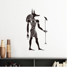 Ancient Egypt Culture Black White Anubis Totem Fresco Illustration Pattern Silhouette  Removable Wall Sticker Art Decals Mural DIY Wallpaper for Room Decal