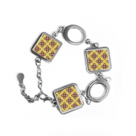 Kingdom of Thailand Thai Traditional Customs Golden Purple Crossing Weaving Decorative Pattern Satin Shrine Art Illustration Square Shape Metal Bracelet Love Gifts Jewelry With Chain Decoration