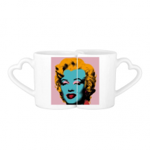 Marilyn Monroe Popular Pop Art Picture Neorealismo Andy Warhol Design Illustration Pattern Lovers' Mug Lover Mugs Set White Pottery Ceramic Cup Milk Coffee Cup with Handles