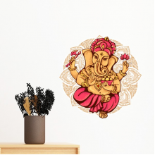 Buddhism Religion Buddhist Elephant Lotus Round Illustration Pattern Removable Wall Sticker Art Decals Mural DIY Wallpaper for Room Decal