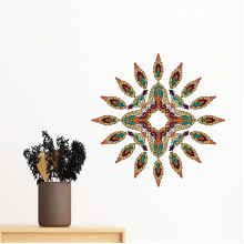 Buddhism Religion Buddhist Colorful Asymmetrical Abstract Illustration Pattern Removable Wall Sticker Art Decals Mural DIY Wallpaper for Room Decal
