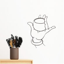 Buddhism Religion Buddhist Hand Cup Line Drawing Simple Illustration Pattern Removable Wall Sticker Art Decals Mural DIY Wallpaper for Room Decal