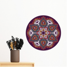 Buddhism Religion Buddhist Colorful Asymmetrical Abstract Round Illustration Pattern Removable Wall Sticker Art Decals Mural DIY Wallpaper for Room Decal