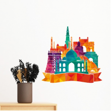 Buddhism Religion Buddhist Colorful Temple Architecture Landmark Simple Design Illustration Pattern Removable Wall Sticker Art Decals Mural DIY Wallpaper for Room Decal