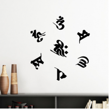 Buddhism Religion Buddhist Black Sanskrit Character Figure Round Illustration Pattern Silhouette  Removable Wall Sticker Art Decals Mural DIY Wallpaper for Room Decal
