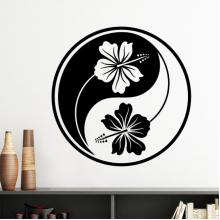 Buddhism Religion Buddhist Black White Yin-yang Flower Design Round Illustration Pattern Silhouette  Removable Wall Sticker Art Decals Mural DIY Wallpaper for Room Decal