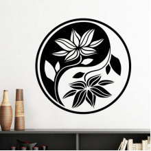 Buddhism Religion Buddhist Black White Yin-yang Lotus Leaf Round Design Illustration Pattern Silhouette  Removable Wall Sticker Art Decals Mural DIY Wallpaper for Room Decal