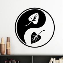 Buddhism Religion Buddhist Black White Yin-yang Leaf Round Design Illustration Pattern Silhouette  Removable Wall Sticker Art Decals Mural DIY Wallpaper for Room Decal