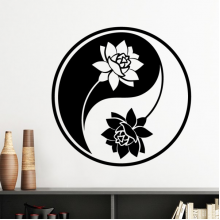 Buddhism Religion Buddhist Black White Yin-yang Lotus Round Design Illustration Pattern Silhouette  Removable Wall Sticker Art Decals Mural DIY Wallpaper for Room Decal