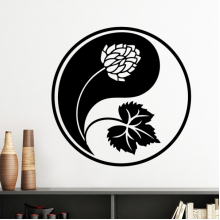 Buddhism Religion Buddhist Black White Yin-yang Flower Leaf Round Design Illustration Pattern Silhouette  Removable Wall Sticker Art Decals Mural DIY Wallpaper for Room Decal