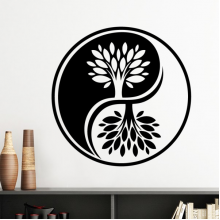 Buddhism Religion Buddhist Black White Yin-yang Tree Round Design Illustration Pattern Silhouette  Removable Wall Sticker Art Decals Mural DIY Wallpaper for Room Decal
