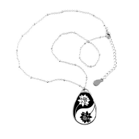 Buddhism Religion Buddhist Black White Yin-yang Lotus Round Design Illustration Pattern Teardrop Shape Pendant Necklace Jewelry With Chain Decoration