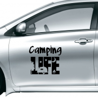 Camping Life Car Tree Moon Night Creative Illustration Pattern Car Sticker on Car Styling Decal Motorcycle Stickers for Car Accessories