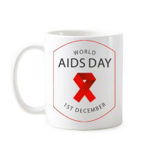 1st December Red Ribbon World AIDS Day HIV Awareness Solidarity Symbol Classic Mug White Pottery Ceramic Cup Gift Milk Coffee With Handles 350 ml