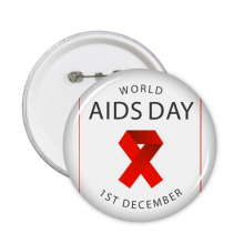 1st December Red Ribbon World AIDS Day HIV Awareness Solidarity Symbol Round Pins Badge Button Clothing Decoration Gift 5pcs
