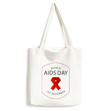 1st December Red Ribbon World AIDS Day HIV Awareness Solidarity Symbol Fashionable Design High Quality Canvas Bag Environmentally Tote Large Gift Capacity Shopping Bags