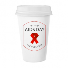1st December Red Ribbon World AIDS Day HIV Awareness Solidarity Symbol Classic Mug White Pottery Ceramic Cup Milk Coffee Cup Gift 350 ml
