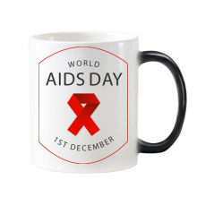 1st December Red Ribbon World AIDS Day HIV Awareness Solidarity Symbol Morphing Heat Sensitive Changing Color Mug Cup Gift Milk Coffee With Handles 350 ml