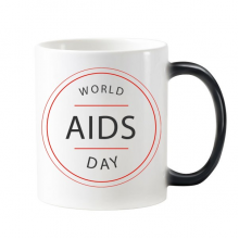 1st December World AIDS Day HIV Awareness Solidarity Symbol Morphing Heat Sensitive Changing Color Mug Cup Gift Milk Coffee With Handles 350 ml