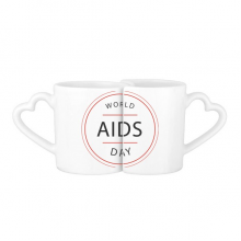1st December World AIDS Day HIV Awareness Solidarity Symbol Lovers' Mug Lover Mugs Set White Pottery Ceramic Cup Gift Milk Coffee Cup with Handles