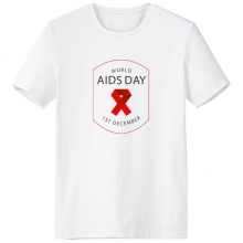 1st December Red Ribbon World AIDS Day HIV Awareness Solidarity Symbol Crew-Neck White T-shirt Spring and Summer Tagless Comfort Cotton Sports T-shirts