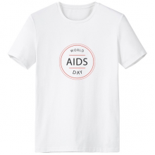 1st December World AIDS Day HIV Awareness Solidarity Symbol Crew-Neck White T-shirt Spring and Summer Tagless Comfort Cotton Sports T-shirts