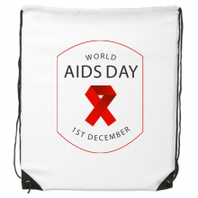 1st December Red Ribbon World AIDS Day HIV Awareness Solidarity Symbol Drawstring Backpack Fine Lines Shopping Creative Handbag Shoulder Environmental Polyester Bag