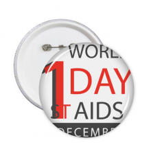 1st December World AIDS Day Solidarity HIV Awareness Symbol Round Pins Badge Button Clothing Decoration Gift 5pcs