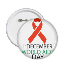 1st December World AIDS Day HIV Solidarity Awareness Symbol Round Pins Badge Button Clothing Decoration Gift 5pcs