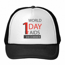 1st December World AIDS Day Solidarity HIV Awareness Symbol Trucker Hat Baseball Cap Nylon Mesh Hat Cool Children Hat Adjustable Cap