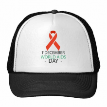 1st December World AIDS Day HIV Solidarity Awareness Symbol Trucker Hat Baseball Cap Nylon Mesh Hat Cool Children Hat Adjustable Cap