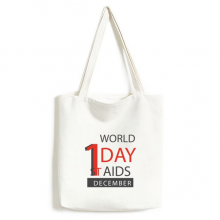 1st December World AIDS Day Solidarity HIV Awareness Symbol Fashionable Design High Quality Canvas Bag Environmentally Tote Large Gift Capacity Shopping Bags