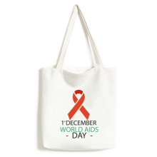 1st December World AIDS Day HIV Solidarity Awareness Symbol Fashionable Design High Quality Canvas Bag Environmentally Tote Large Gift Capacity Shopping Bags