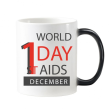 1st December World AIDS Day Solidarity HIV Awareness Symbol Morphing Heat Sensitive Changing Color Mug Cup Gift Milk Coffee With Handles 350 ml