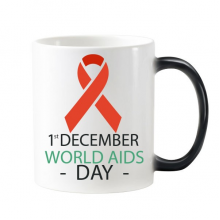 1st December World AIDS Day HIV Solidarity Awareness Symbol Morphing Heat Sensitive Changing Color Mug Cup Gift Milk Coffee With Handles 350 ml