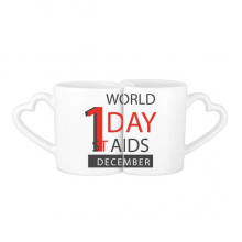 1st December World AIDS Day Solidarity HIV Awareness Symbol Lovers' Mug Lover Mugs Set White Pottery Ceramic Cup Gift Milk Coffee Cup with Handles