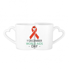 1st December World AIDS Day HIV Solidarity Awareness Symbol Lovers' Mug Lover Mugs Set White Pottery Ceramic Cup Gift Milk Coffee Cup with Handles
