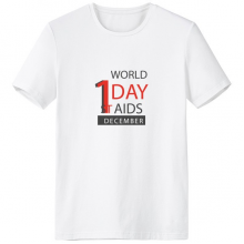 1st December World AIDS Day Solidarity HIV Awareness Symbol Crew-Neck White T-shirt Spring and Summer Tagless Comfort Cotton Sports T-shirts