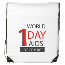 1st December World AIDS Day Solidarity HIV Awareness Symbol Drawstring Backpack Fine Lines Shopping Creative Handbag Shoulder Environmental Polyester Bag
