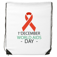 1st December World AIDS Day HIV Solidarity Awareness Symbol Drawstring Backpack Fine Lines Shopping Creative Handbag Shoulder Environmental Polyester Bag