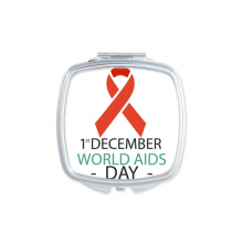 1st December World AIDS Day HIV Solidarity Awareness Symbol Square Compact Makeup Pocket Mirror Portable Cute Small Hand Mirrors Gift