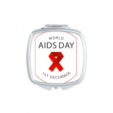 1st December Red Ribbon World AIDS Day HIV Awareness Solidarity Symbol Square Compact Makeup Pocket Mirror Portable Cute Small Hand Mirrors Gift